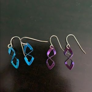 Blue and Purple Metallic Earrings